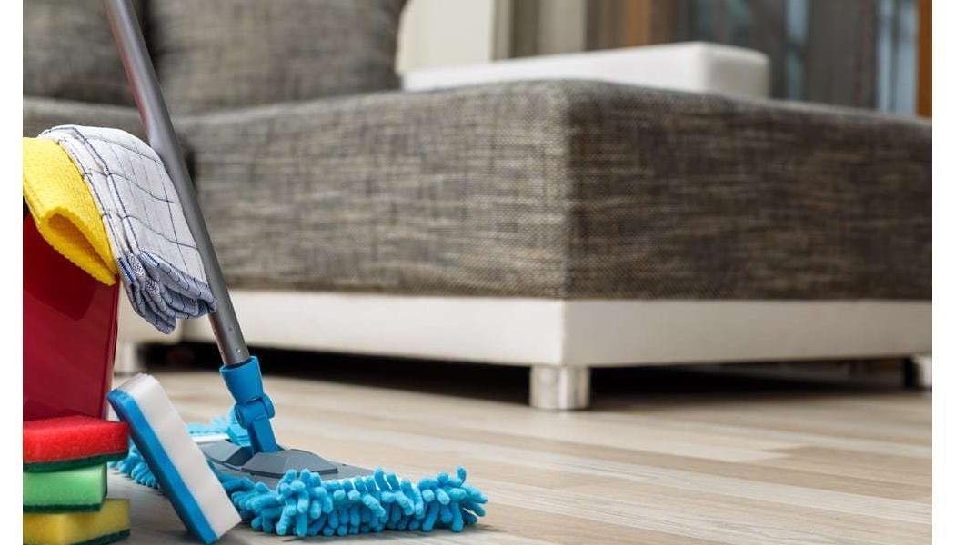 dry mop with cleaning supplies