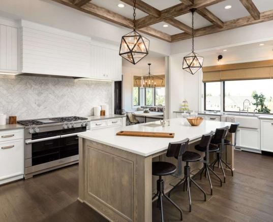 matte hardwood floors in kitchen